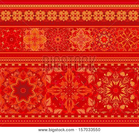 Rich ethnic striped seamless pattern geometric design. Mandala style. Vector illustraton background. Red orange.