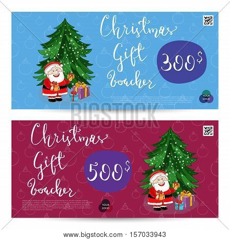 Christmas gift voucher template. Gift coupon with Xmas attributes and prepaid sum. Santa, gifts, christmas tree, gingerbread cookie cartoon vectors. Merry Christmas and Happy New Year greeting card