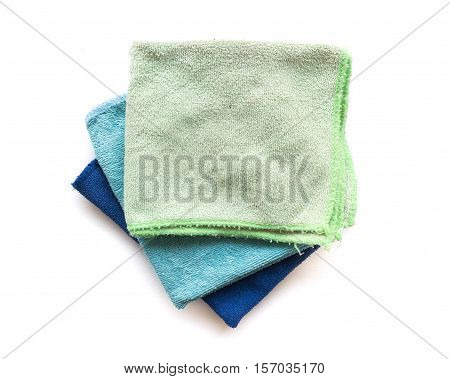 Pile of microfiber cloth for clean on white background workhouse concept