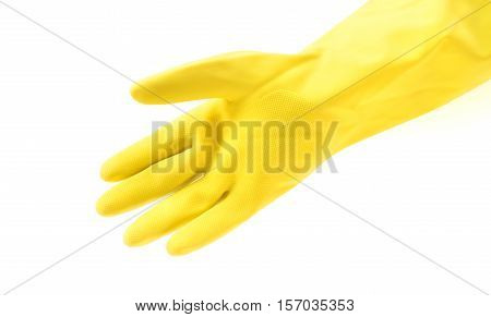 Hand wearing yellow rubber gloves for cleaning on white background workhouse concept