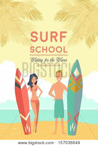 Surf school summer poster with surfboards and teens waiting for waves at calm sea background flat vector illustration