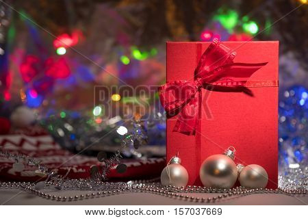 Gift Box With Red Bow On Abstract Background