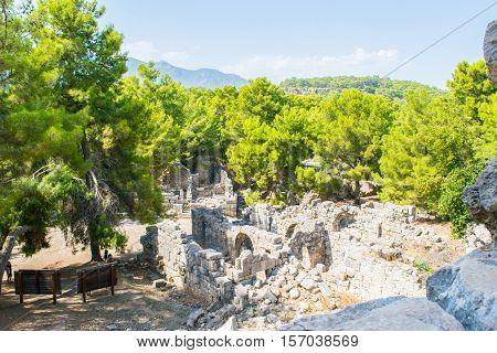 Ruins of ancient Phaselis city at Turkey