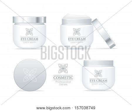 Eye cream professional series. Set of white tubes for cosmetics on white background. Product for body, skin and face care, beauty, health, freshness, youth, hygiene. Realistic vector illustration.