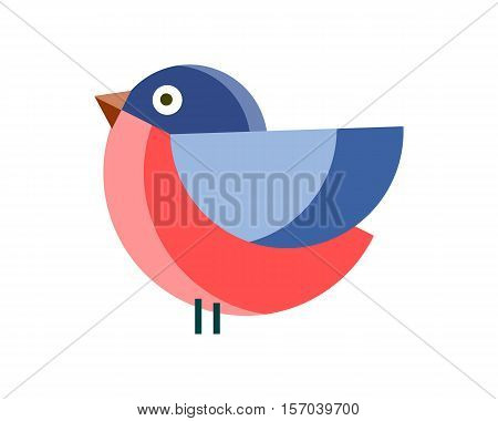 Simple bullfinch vector. Flat design. Funny color bird from primitive forms. Winter holidays symbol. For nature concept, children s books illustrating, printing materials. Isolated on white background