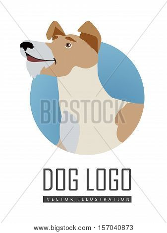 Dog vector logo in flat style. Fox terrier bust in the blue circle illustration for pet shop, breed club logotype, app icon, animal infogpaphics elements, web design. Isolated on white background