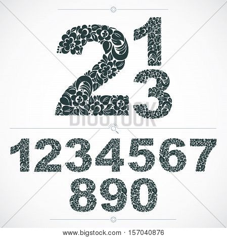Floral Numerals, Hand-drawn Vector Numbers Decorated With Botanical Pattern. Monochrome Ornamental N