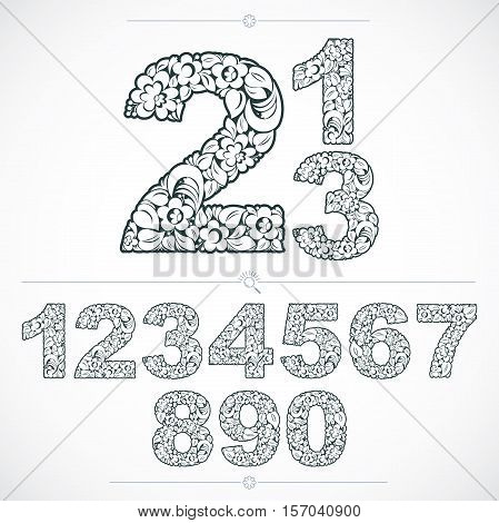 Ecology Style Flowery Numbers, Vector Numeration Made Using Natural Ornament. Black And White Digits