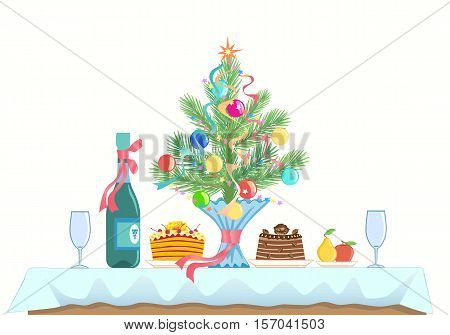 A small table served for two. Menu for celebrating a New Year and Christmas. Cakes fruit champagne or wine wine glasses. branch of spruce (pine) decorated with Christmas toys. Side view. Vector.