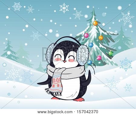 Penguin animal in scarf and headphones with winter landscape on background. Funny polar winter bird banner poster greeting card. Cartoon character wild penguin in flat design. Vector illustration