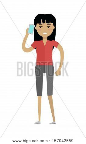 Young european woman in red blouse and grey breeches speaking on telephone. Caucasian beautiful girl. Attractive teenager lady in casual clothes. Part of series of people of the world. Vector