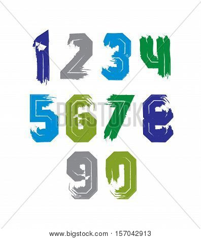 Hand drawn stroked numerals collection of unusual watercolor numbers.