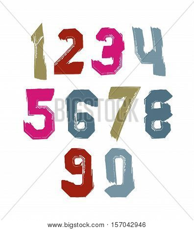 Bright hand painted daub numerals collection of acrylic realistic digits with brushstrokes.