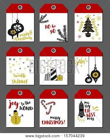 Christmas Tags - Set of 9 Christmas labels