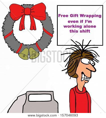 Christmas illustration about a retail clerk promising to provide free gift wrapping during the busy holiday season.