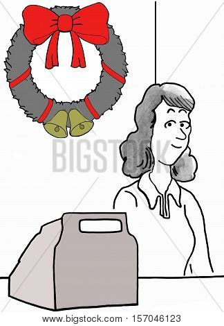 Christmas illustration about a clerk working at the cash register.