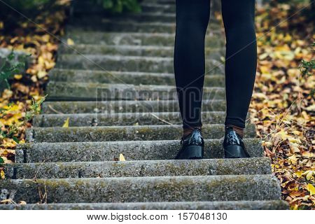 Female legs in black tights and shoes on the steps that are coming up. autumn.