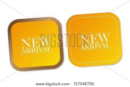 New arrival stickers with soft shadow on white background