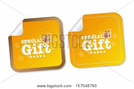 Special Gift on yellow stickers with soft shadow