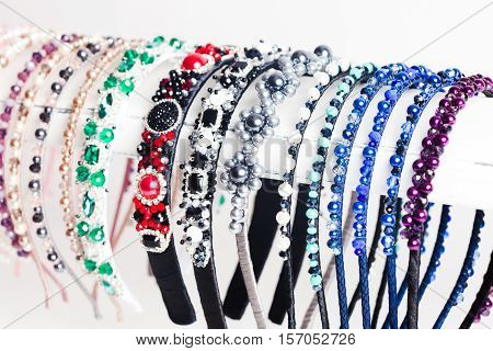 Variety jewelry headbands for female hair in the shop. Handmade