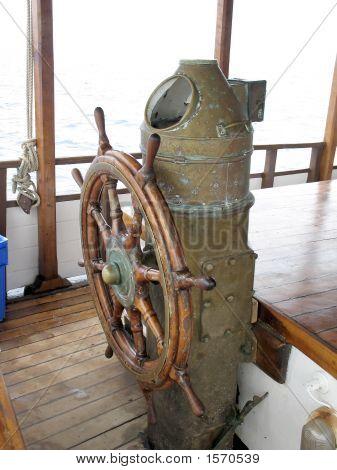 Ships Wheel, Brass Binnacle