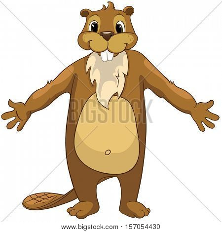 Cartoon Character Beaver. Isolated on White Background.