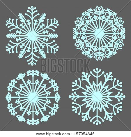 Set of vector snowflakes. Collection of ornamental mandalas. Stylized snowflakes. Winter. Line art.