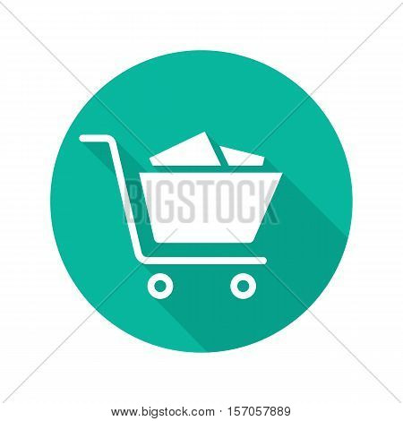 Shopping cart full of boxes. Flat design long shadow icon. Vector silhouette symbol