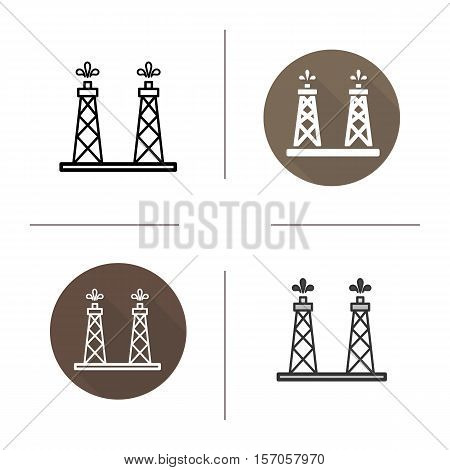 Oil tower icon. Flat design, linear and color styles. Oil derrick. Isolated vector illustrations
