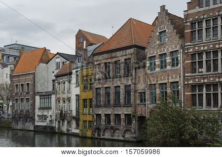 Traditional architecture detail on canal in Gent, Belgium