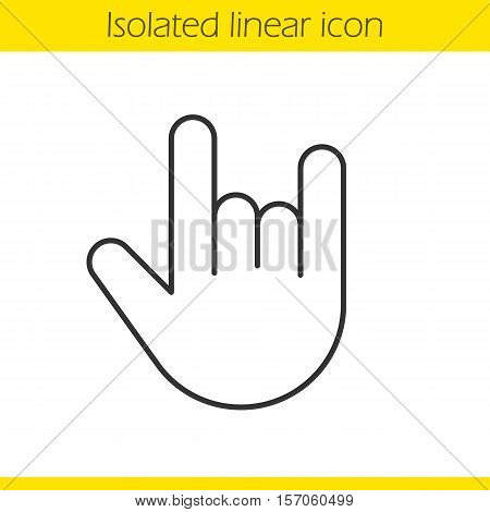 Heavy metal gesture linear icon. Thin line illustration. Devil horn and cool contour symbol. Vector isolated outline drawing