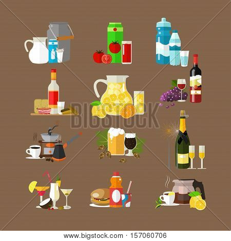 Set of beverages concept icons, design templates. Hot and cold drinks, soft and alcoholic drinks. Vector illustration in flat style.