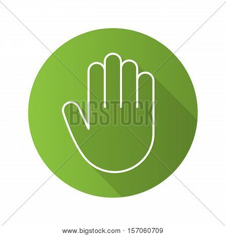 Hand flat linear long shadow icon. Palm. Greeting and high five gesture. Vector line symbol