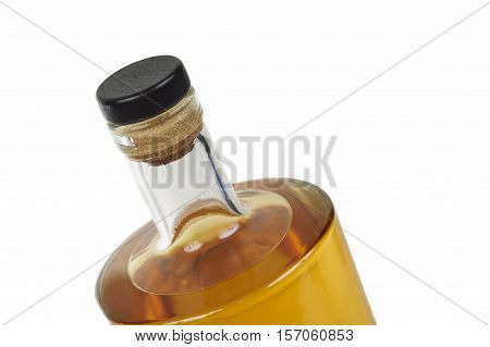 Close Up Of A Bottle Whiskey Over White