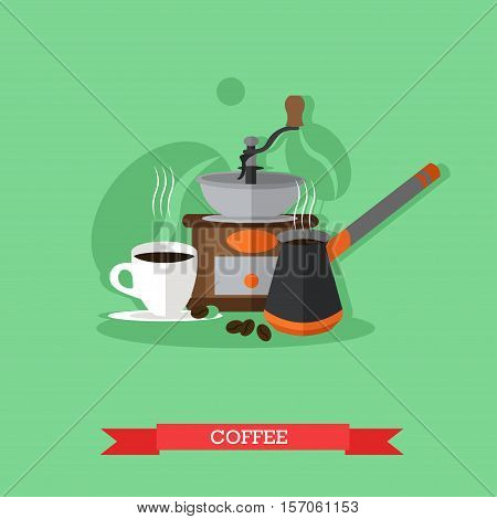 Cup of coffee, turkish coffee maker and coffee mill. Coffee drink design elements. Vector illustartion in flat style.