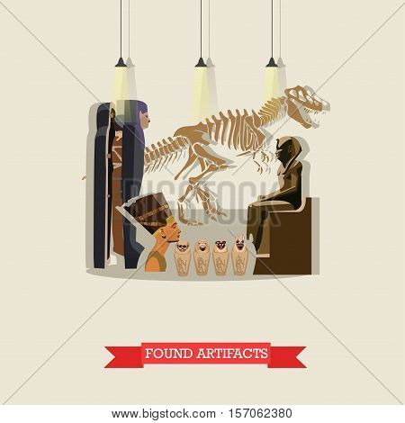 Vector illustration of found artifacts of ancient Egypt in flat style. Skeleton of dinosaur, mummies and statue of pharaohs, figurines Ushabti, Nefertiti bust.