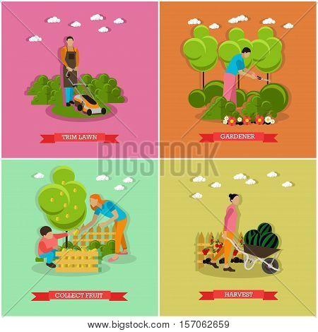 Set of gardening, harvesting concept banners. People with garden tools. Service of gardener. Vector, flat style