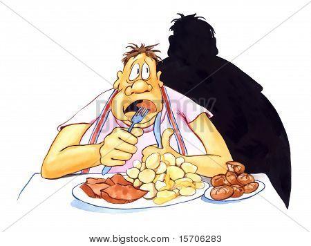 Salientou o sobrepeso homem comendo