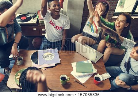 Diverse Group People High Five Concept