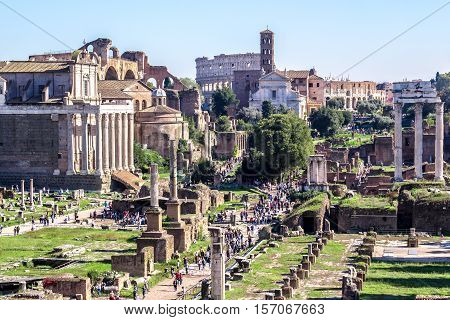 Panoramic view of the Imperial Forums in Rome Italy