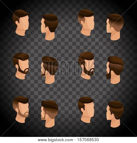 Isometric set of avatars, men's hairstyles, hipster style. Laying, beard, mustache. Stylish, modern hairstyles, front view rear view, on a transparent background. Vector illustration.