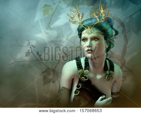 3D computer graphics of a girl with golden antlers as headdress and vines in the background