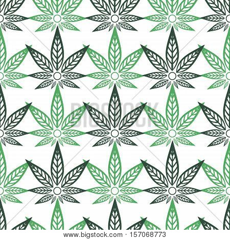Seamless pattern with cannabis. Green stylized hemp leaves.