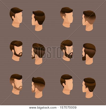 Isometric set of avatars, men's hairstyles, hipster style. Laying, beard, mustache. Stylish, modern hairstyles, front view rear view, on a beige background. Vector illustration.