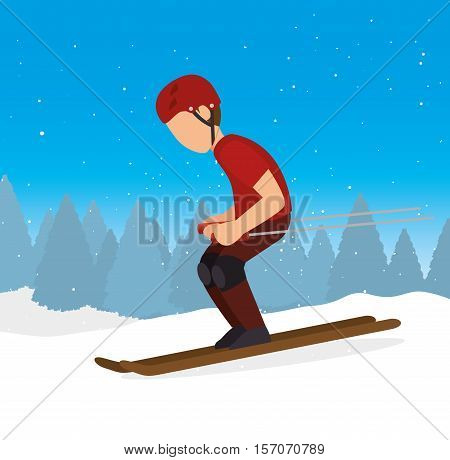 skiing downhill man extreme sports vector illustration eps 10
