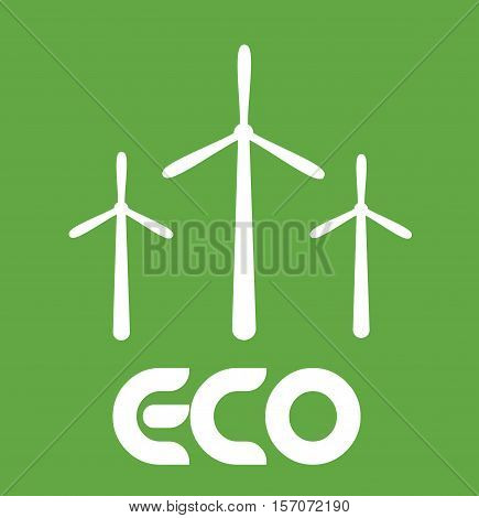 Wind Turbine Eco Green Save energy planet earth vector sign illustration stock