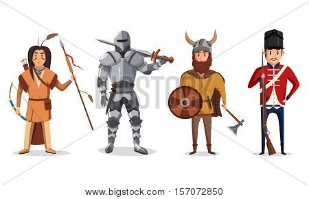 Warrior knight with sword and viking soldier, english rifleman and indian, native american warrior with bow and arrow. May be used for cartoon warrior and norwegian, sword fighter ancient war theme