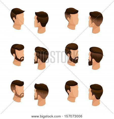 Isometric set of avatars, men's hairstyles, hipster style. Laying, beard, mustache. Stylish, modern hairstyles, front view rear view isolated. Vector illustration.