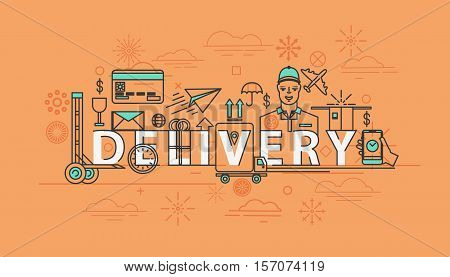 Delivery thin line icons package. Lorry and truck, timer and weather icon, plane and credit card, courier and delivery car. For deliver box label or delivery truck, service of speed shipping theme