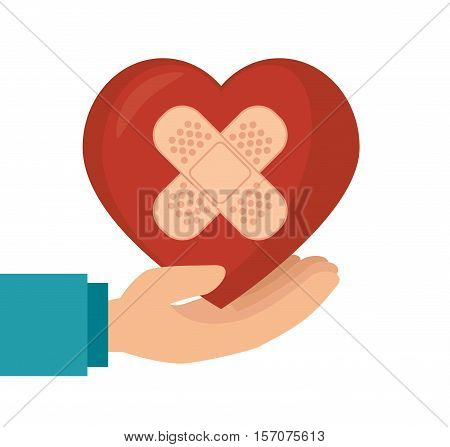 hand hold heart with plaster vector illustration eps 10